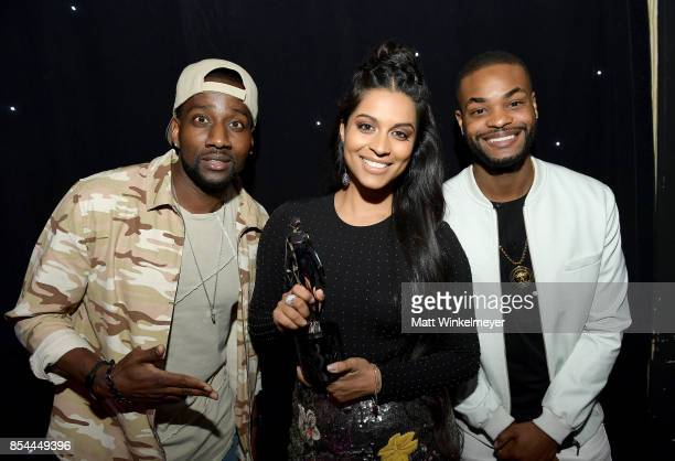 DeStorm Powers Lilly Singh and King Bach at the 2017 Streamy Awards at The Beverly Hilton Hotel on September 26 2017 in Beverly Hills California