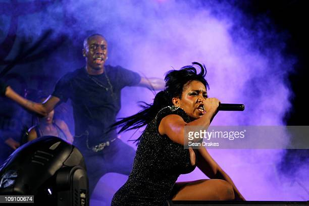 Destra Garcia performs at Spektakula's Battle of the Sexes at the Jean Pierre Complex on February 12 2011 in Port of Spain Trinidad