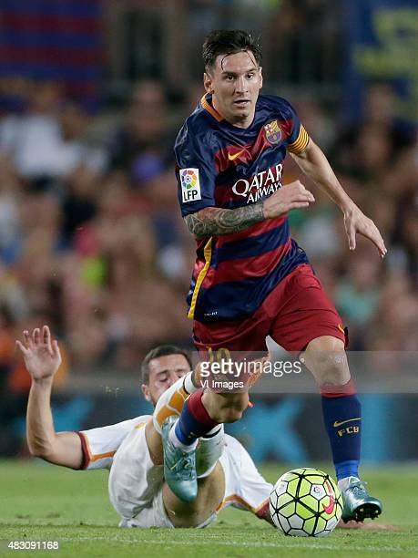 Destro of AS Roma Lionel Messi of FC Barcelona during the Joan Gamper Trophy match between Barcelona and AS Roma on August 5 2015 at the Camp Nou...