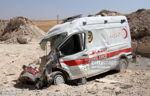 A destroyed ambulance from the Syrian Civil Defence is seen in the town of Khan Sheikun in Syria's Idlib province on September 22 2017 following...