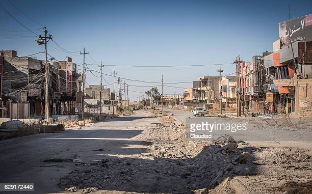 Destroyed and abandoned city of Qaraqosh, Iraq
