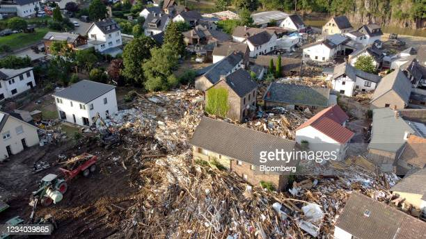 Destroyed and damaged houses among debris in Schuld, Germany, on Saturday, July 17, 2021. The death toll from the floods that devastated parts of...