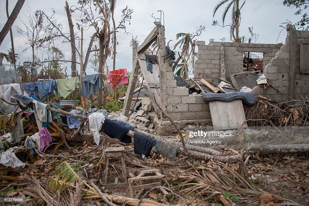 Destroyed areas are seen after it was hit by hurricane Matthew in Les Cayes, Haiti on October 09, 2016. The full scale of the devastation in hurricane-hit rural Haiti became clear as the death toll surged over 400, three days after Hurricane Matthew leveled huge swaths of the country's south.