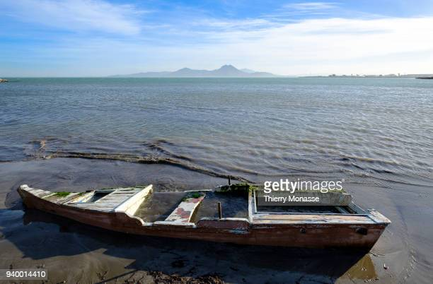 January 3, 2018: A destroyed barque at the sea side. La Goulette is the port of Tunis, the capital of Tunisia.