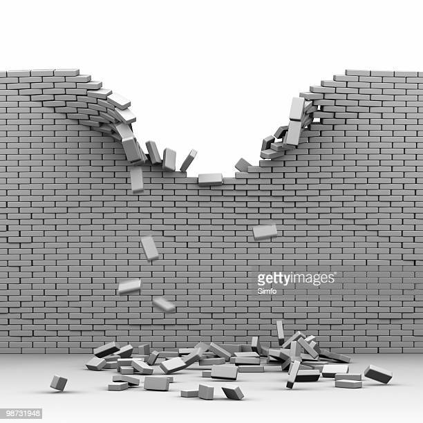 destroyed brickwall - broken stock pictures, royalty-free photos & images