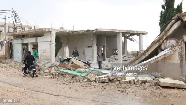 A destroyed building is seen after Assad regime carried out airstrikes over Homs Syria on April 29 2018