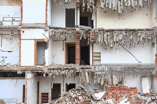 destroyed  building - house collapsing stock pictures, royalty-free photos & images