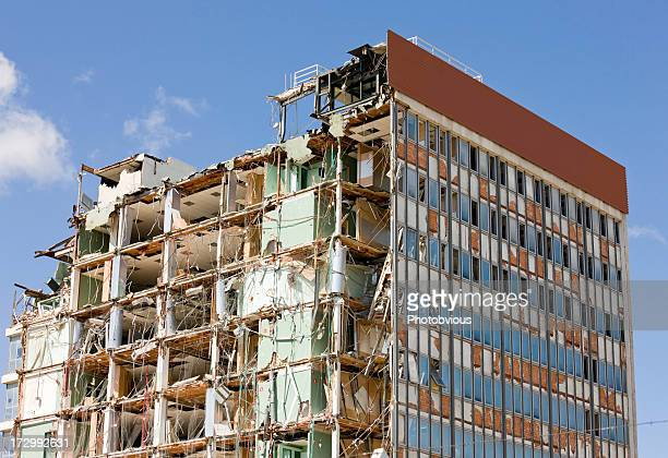 destroyed building. series - demolishing stock pictures, royalty-free photos & images