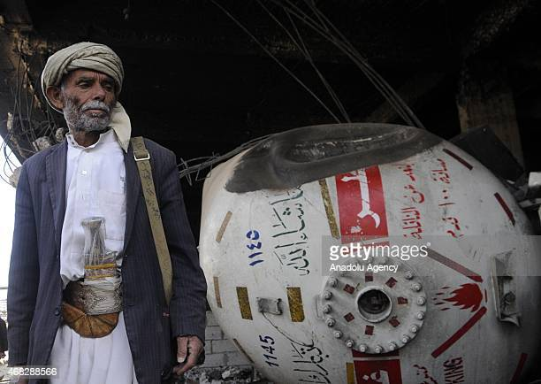A destroyed building which was hit by Saudiled Arab coalition forces to fight against Houthis in Sanaa's Yarim district on April 1 2015 Many houses...