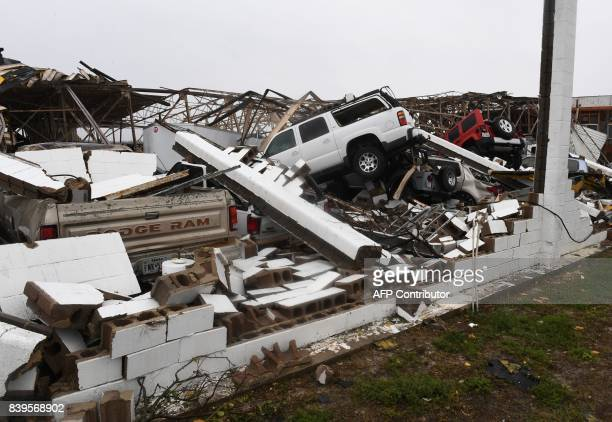 A destroyed buildingand vehicles at Rockport Airport after heavy damage when Hurricane Harvey hit Rockport Texas on August 26 2017 Hurricane Harvey...