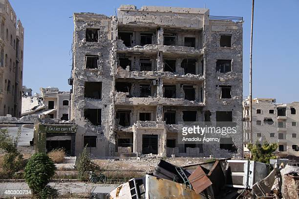 Destroyed buildings are seen after forces connected to the Ansar AlSharia operations center attacked buildings containing regime forces in Cemiyetul...