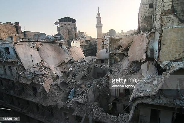 Destroyed buildings are seen after war crafts belonging to the Russian army carried out air strikes over opposition controlled town of Bustan AlQasr...