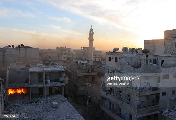 Destroyed buildings are seen at the scene of the air strikes carried out by the war crafts belonging to Assad regime forces on the...