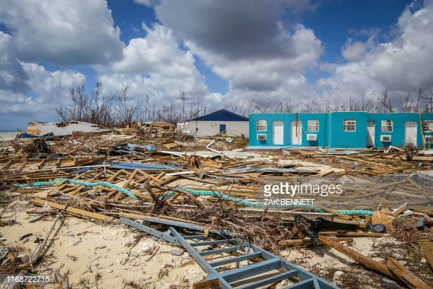 Destroyed buildings are seen in High Rock Grand Bahama Bahamas on September 16 2019 Tropical storm Humberto gained strength on September 15 and was...