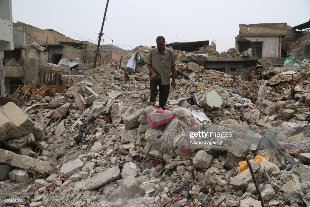 Destroyed buildings are seen in Mosul, which was liberated from Daesh militants almost a year ago, Iraq on May 07, 2018.