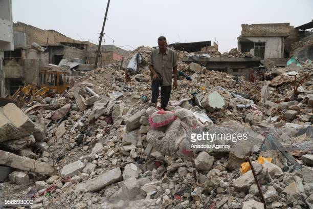Destroyed buildings are seen in Mosul which was liberated from Daesh militants almost a year ago Iraq on May 07 2018
