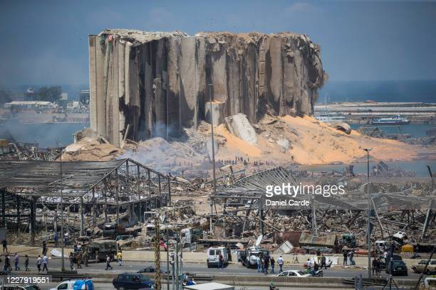 Destroyed buildings are visible a day after a massive explosion occurred at the port on Aug 5 2020 in Beirut Lebanon As of Wednesday morning more...