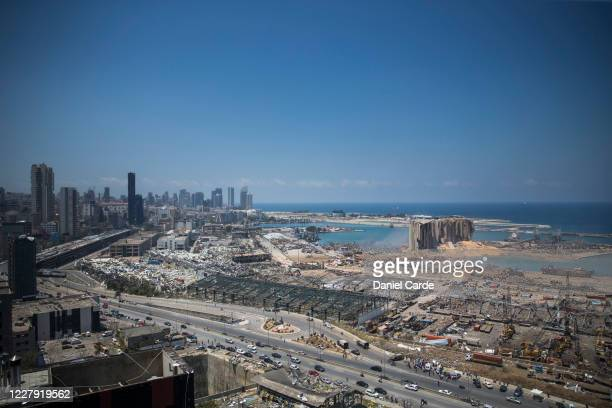 Destroyed buildings are visible a day after a massive explosion occurred at the port on Aug. 5, 2020 in Beirut, Lebanon. As of Wednesday morning,...