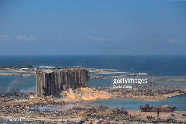 Destroyed buildings are visible a day after a massive explosion occurred at the port on August 5, 2020 in Beirut, Lebanon. As of Wednesday morning,...