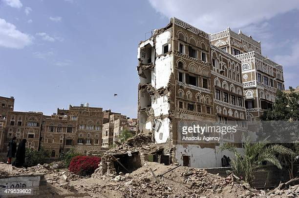 Destroyed buildings in Bab alYemen which are declared as World Heritage Site by the United Nations are seen after Saudiled coalition launches...