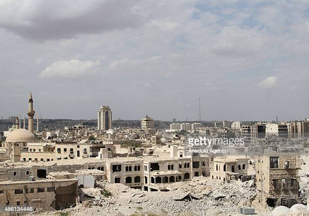 Destroyed buildings of a neighbourhood in old city Aleppo are seen after hours of clashes between the Syrians government forces and Islamic front in...