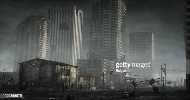 destroyed cityscape - nuclear fallout stock pictures, royalty-free photos & images