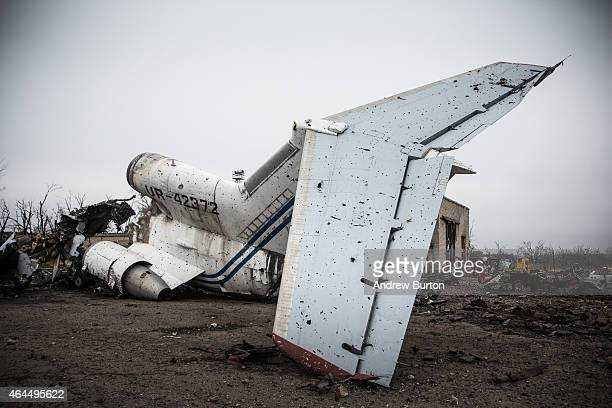 Destroyed commercial airplanes sit scattered at the Donetsk airport on February 26, 2015 in Donetsk, Ukraine. The Donetsk airport has been one of the...