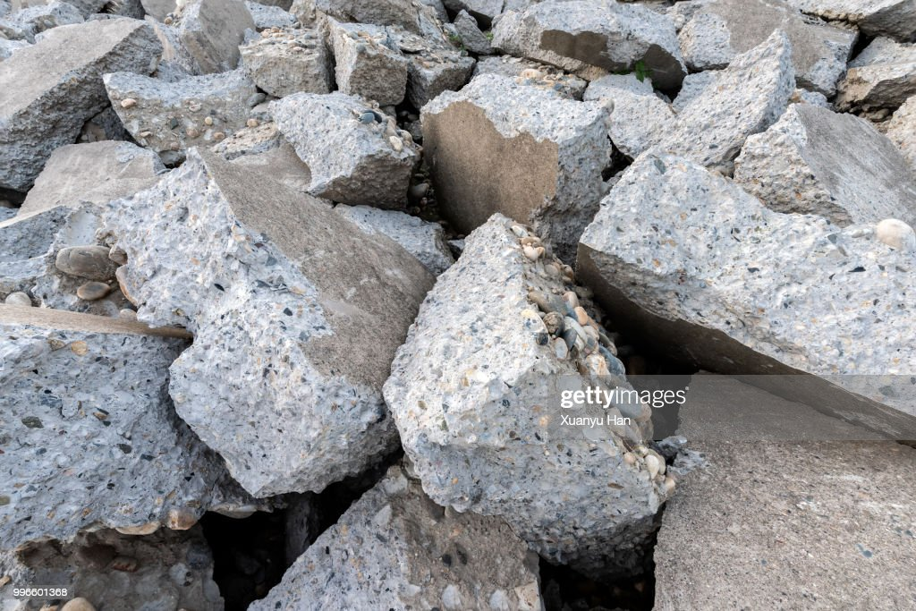 Destroyed concrete blocks. Full frame, close-up : Stock Photo