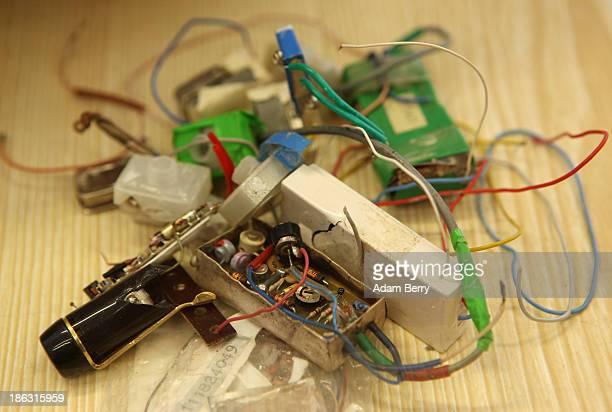 A destroyed eavesdropping device or bug from fall of 1989 the end of the Cold War is displayed at the Stasi or East German Secret Police Museum on...