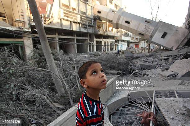 Destroyed El Suusi Mosque is seen after an Israeli attack in AlShati Refugee Camp Gaza City Gaza on July 30 2014