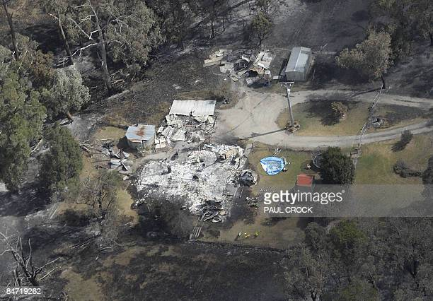 A destroyed farm house after a wildfire ripped through the West Gippsland region around Bunyip some 100km east of Melbourne on February 9 2009...