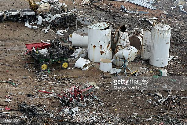 A destroyed fire truck sits among piles of rubble where an explosion at the West Fertilizer Company leveled the business a day earlier April 18 2013...