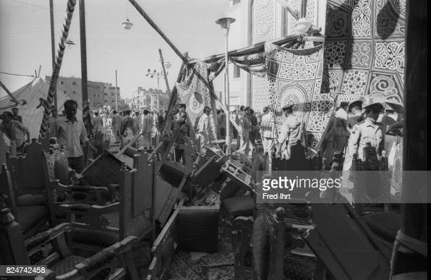 Destroyed funeral side. This is were all the heads of states were suppose to sit to pay their final respect to president Gamal Abd al-Nasser. But...