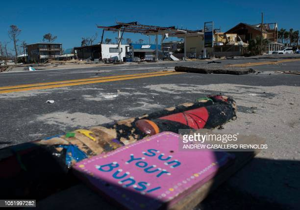 A destroyed gas station is seen near Port Saint Joe Florida on October 12 two days after hurricane Michael hit the area Rescue teams using sniffer...