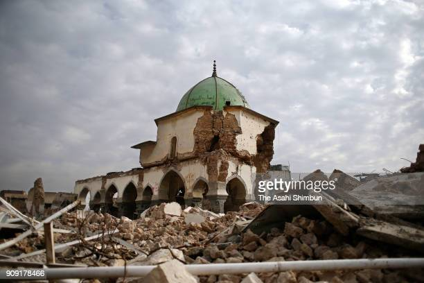 Destroyed Great Mosque of alNuri is seen on January 14 2018 in Mosul Iraq