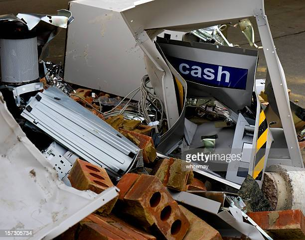 destroyed 'hole in the wall' cash machine - stealing crime stock pictures, royalty-free photos & images