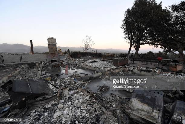 A destroyed home is seen with the Santa Monica Mountains and Pacific Ocean in the background on November 12 2018 in Malibu California as the Woolsey...
