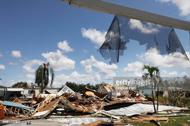 A destroyed home stands in a heavily damaged rural community in rural Naples two days after Hurricane Irma swept through the area on September 12...