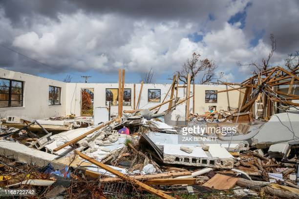 Destroyed homes are seen in High Rock Grand Bahama Bahamas on September 16 2019 Tropical storm Humberto gained strength on September 15 and was...