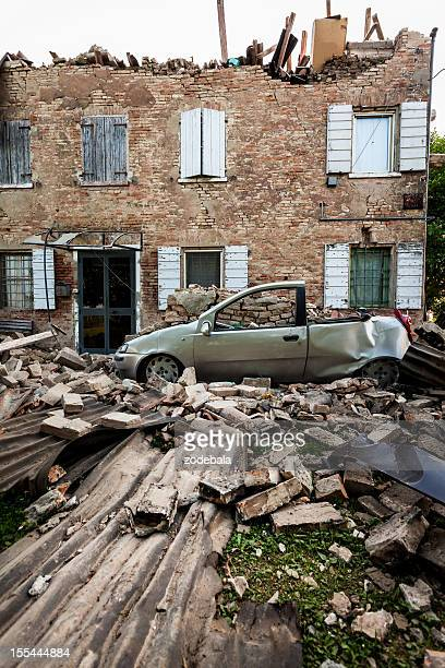 destroyed house after earthquake in italy (emilia romagna, 2012) - emilia romagna stock photos and pictures