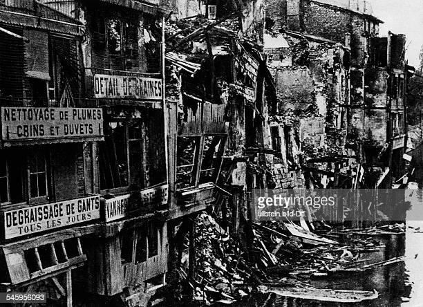 Destroyed house facades in Verdun on the bank of the Maas river