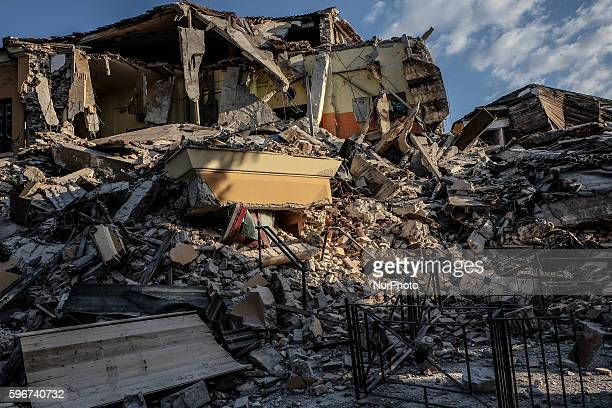 Destroyed house in Amatrice on August 26, 2016. Central Italy was struck by a powerful, 6.2-magnitude earthquake in the early hours, which has killed...