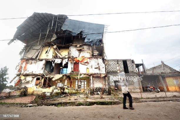 A destroyed house in Goma on April 24 in Goma Democratic Republic of the Congo Mugunga III camp is for internally displaced people and also the...