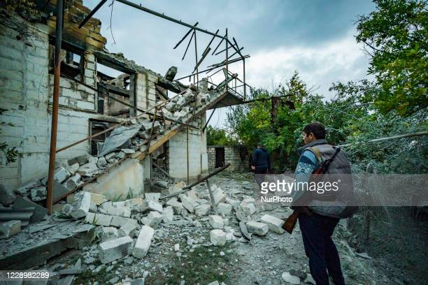 Destroyed house in Martakert village, on October 9, 2020 during the clashes between Nagorno Karabakh and Azerbaijan armies.