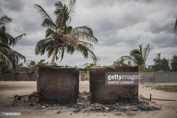 Destroyed house is seen in the recently attacked village of Aldeia da Paz outside Macomia, on August 24, 2019. - On August 1st, the inhabitants of...
