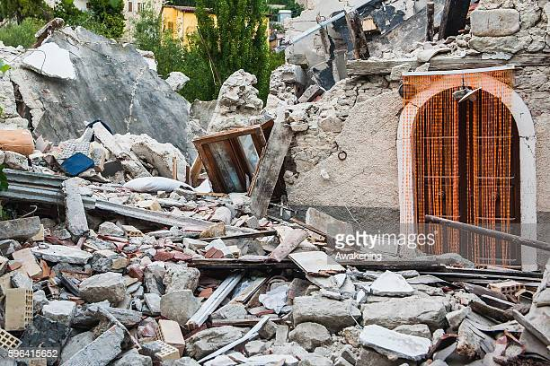 A destroyed house is seen near Amatrice on August 27 Italy Central Italy was struck by a powerful 62magnitude earthquake devastating the region with...