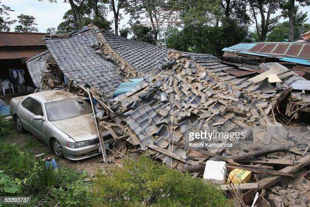 Destroyed house is seen on August 16, 2006 in Kazo, Saitama Prefecture, Japan. A powerful earthquake with a magnitude of 7.2 on the Richter scale hit...