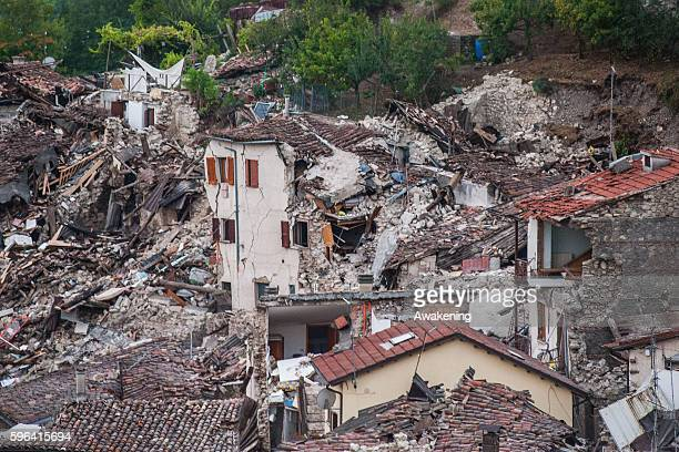 A destroyed house is seen on August 27 2016 in Pescara del Tronto Italy Central Italy was struck by a powerful 62magnitude earthquake devastating the...