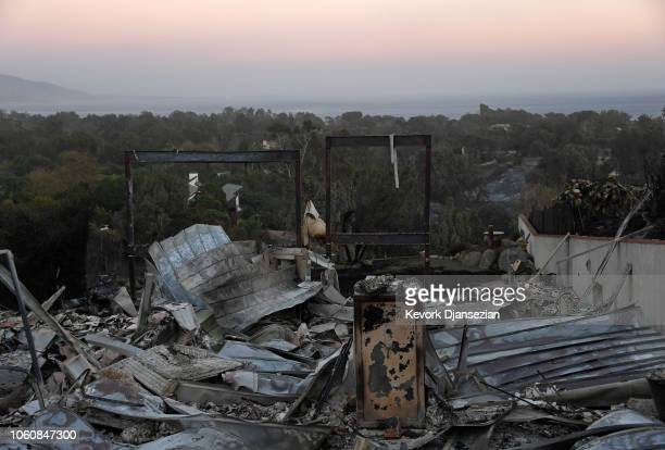 A destroyed house is seen on November 12 2018 in Malibu California as the Woolsey Fire continues to burn Multiple fires are burning throughout the...