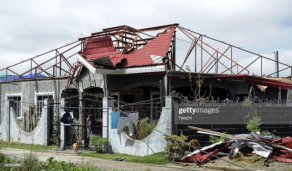 A destroyed house on November 20, 2013, in Abuyog, Philippines. Typhoon Hyaina hit the Philippines on November 8, 2013, and was recorded as the second deadliest typhoon in that region.
